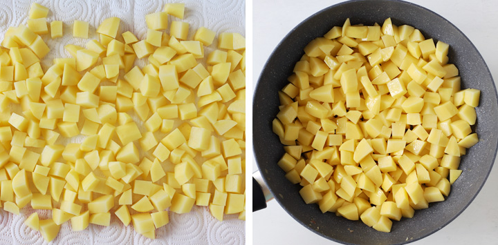 potatoes cooking in a skillet