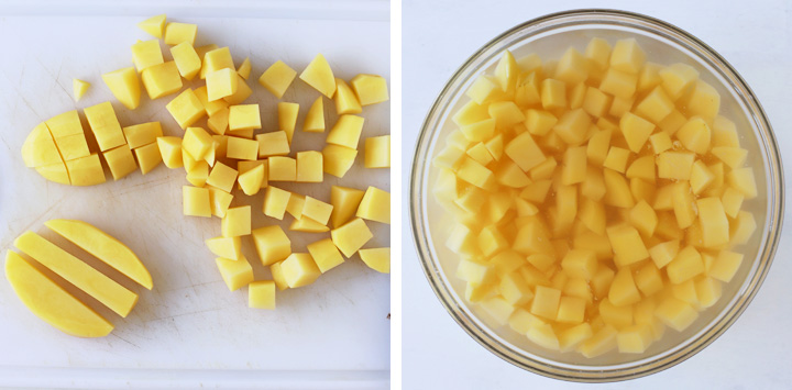 cubed potatoes soaking