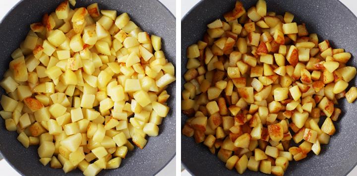 sauteed potatoes cooking