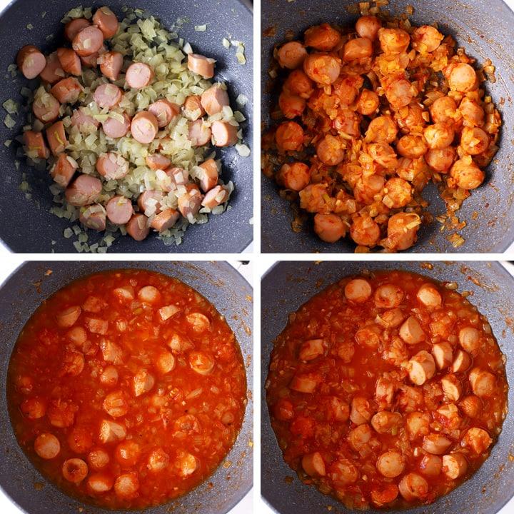 saucisses en sauce dans wok