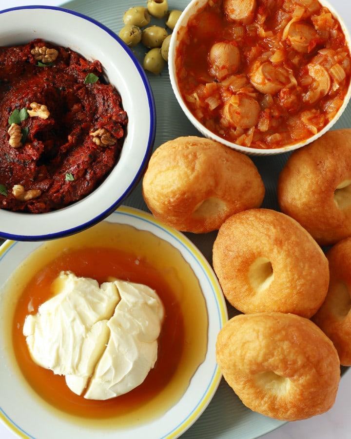 turkish breakfast on a platter