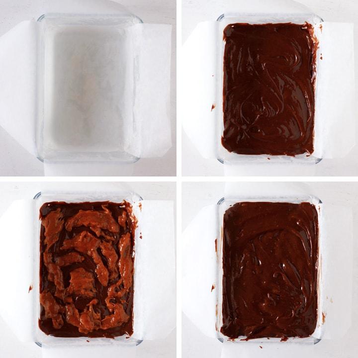 caramel brownie batter in a pan