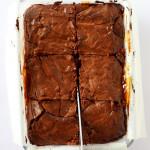 caramel brownies being sliced