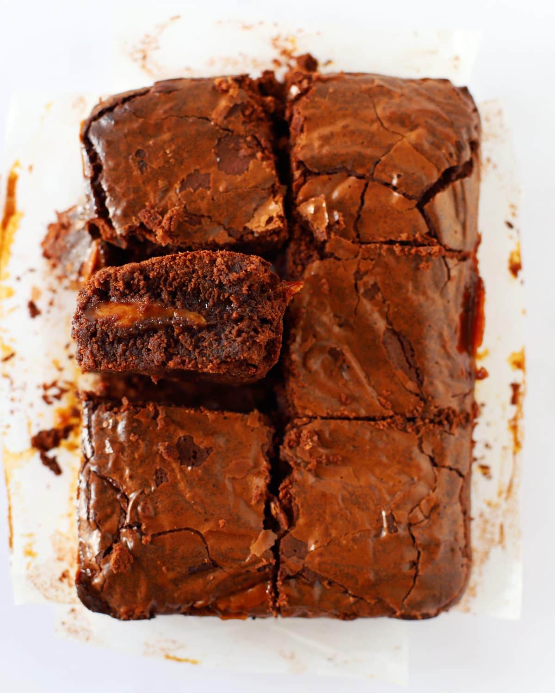caramel brownies cut into squares
