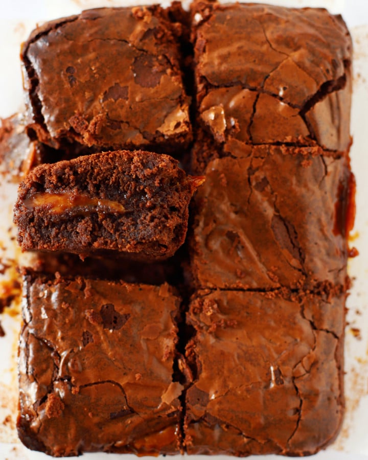 caramel brownies on baking parchment