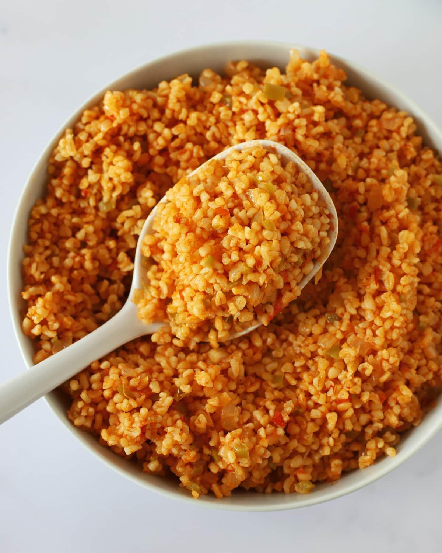 spoonful of bulgur pilaf