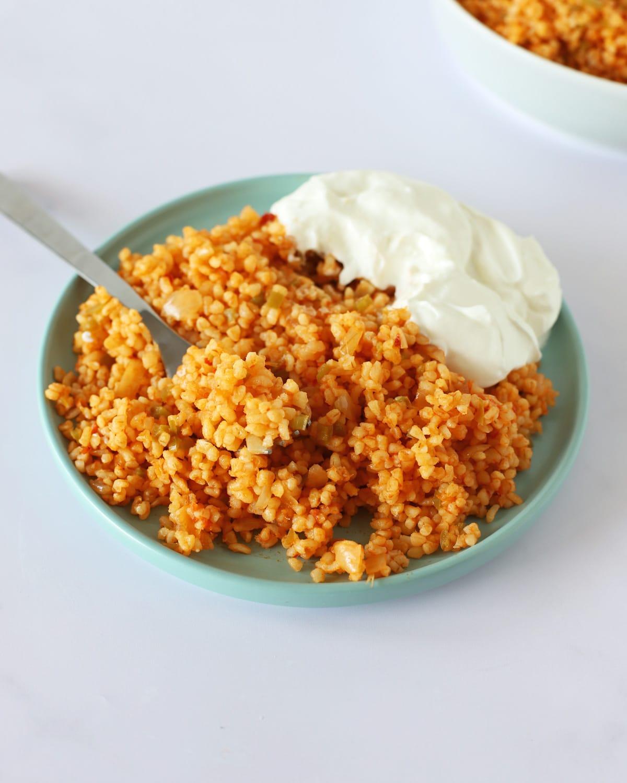 bulgur pilaf on a plate