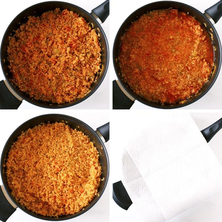 bulgur pilaf cooking in pan